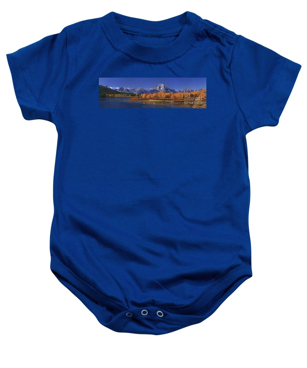 Grand Tetons National Park Baby Onesie featuring the photograph Panorama Fall Morning Oxbow Bend Grand Tetons National Park Wyoming by Dave Welling