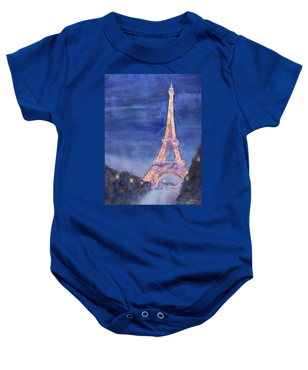 Paris Giant Watercolor Eiffel Tower Night Lighted Blue Gold Yellow Drama Dramatic Time Evening Wet Rain Rainy Dark France Baby Onesie featuring the painting Paris Giant by Jenny Armitage