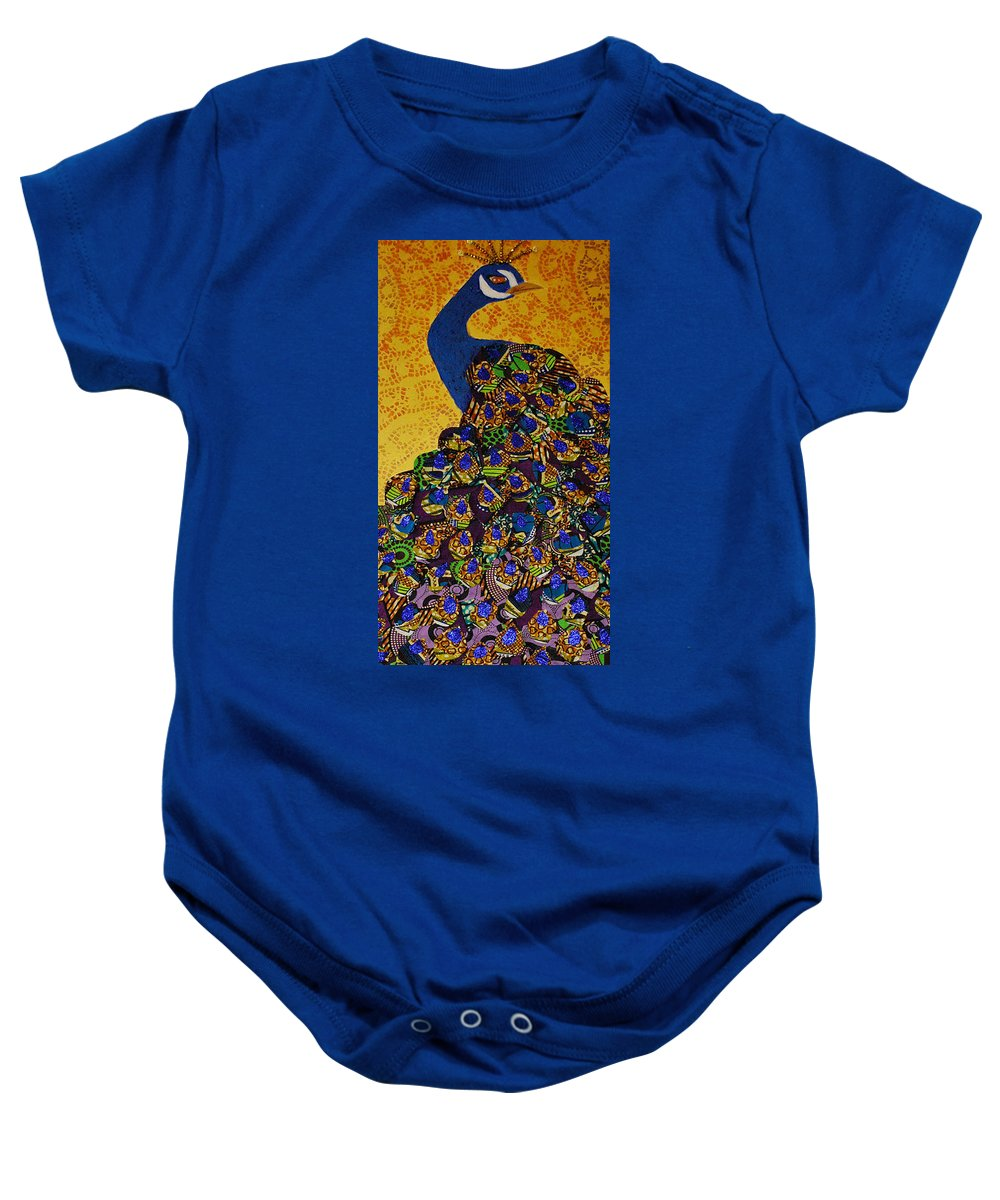 Peacock Baby Onesie featuring the tapestry - textile Peacock Blue by Apanaki Temitayo M