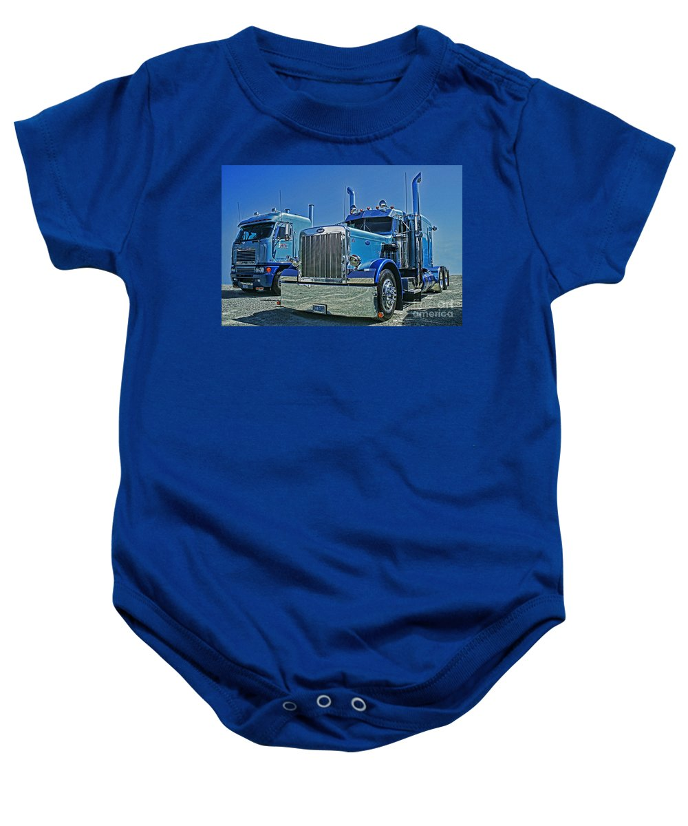 Trucks Baby Onesie featuring the photograph Peterbilt And Frieghtliner by Randy Harris