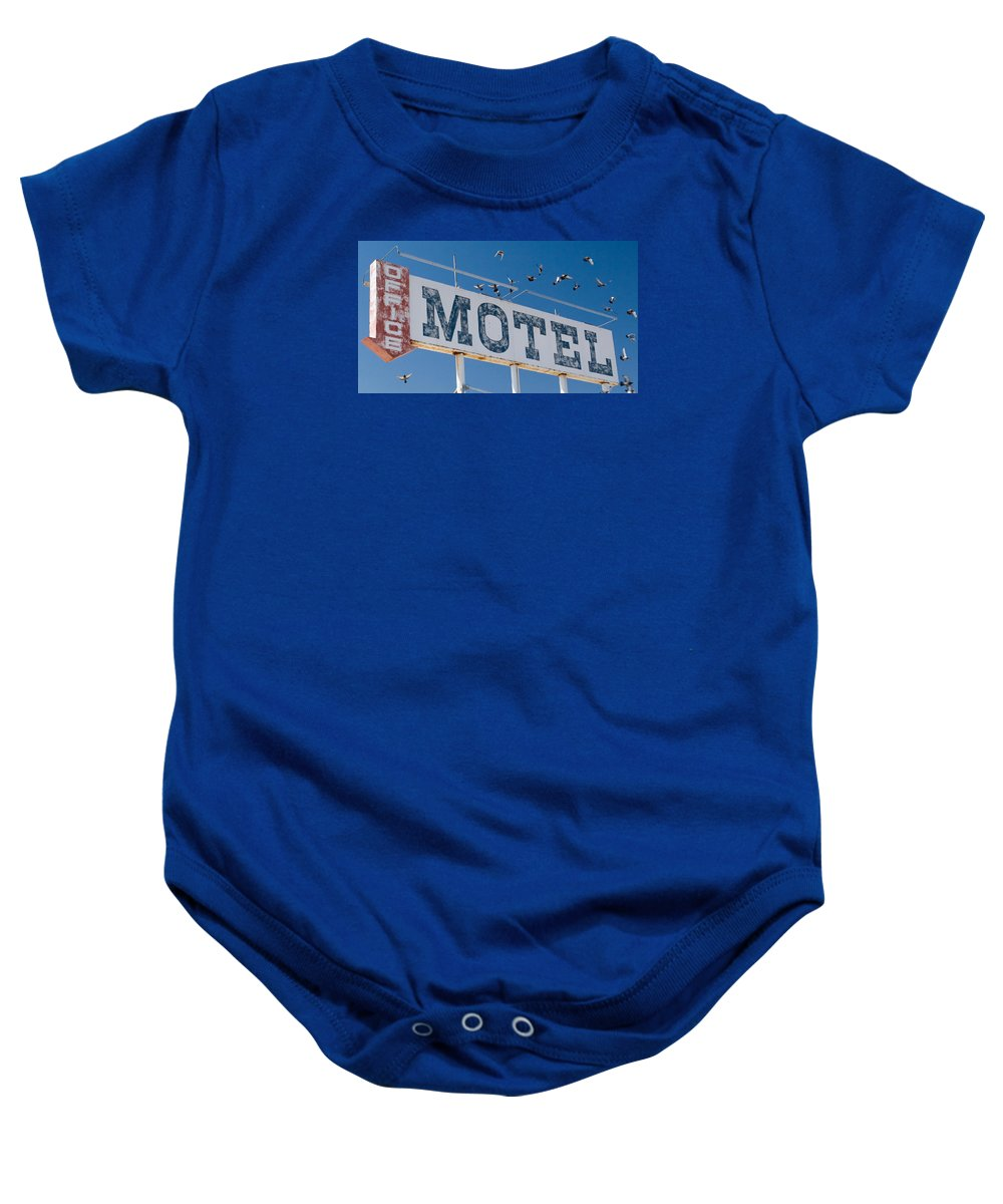 Sign Baby Onesie featuring the photograph Pigeon Roost Motel Sign by Scott Campbell
