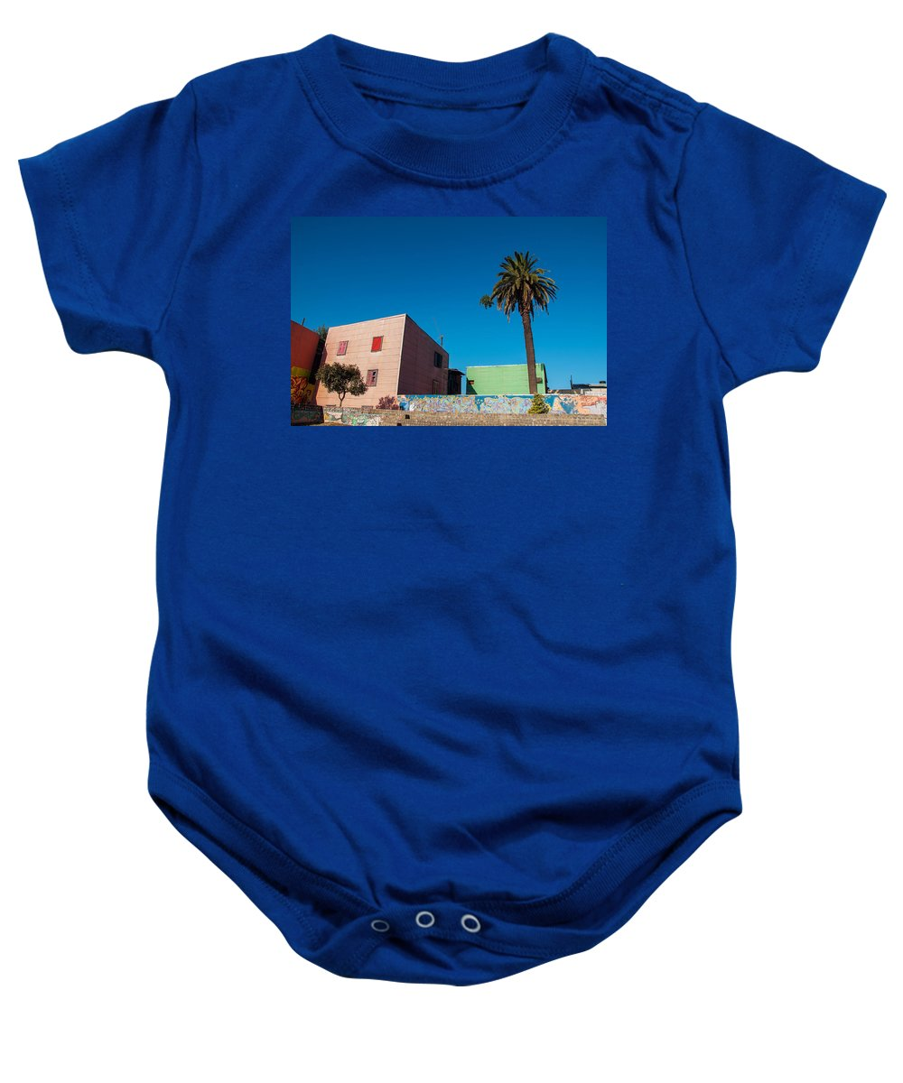 Boca Baby Onesie featuring the photograph Pink Building In Historic Neighborhood by Jess Kraft