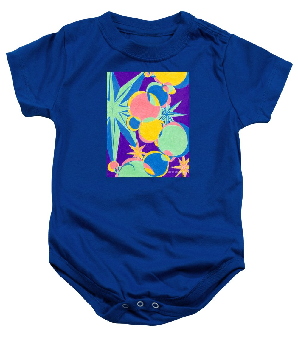 Color Baby Onesie featuring the drawing Planets And Stars by Kim Sy Ok