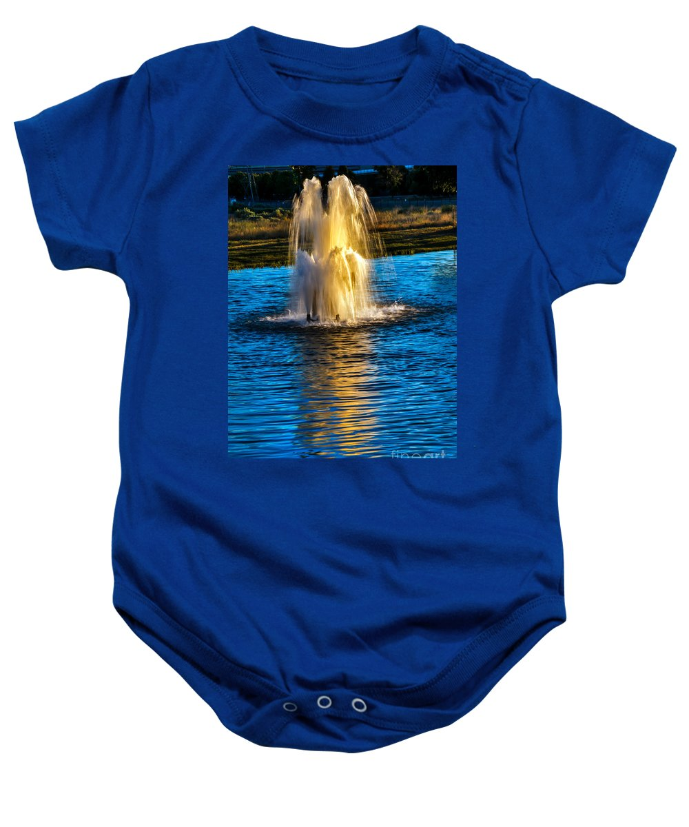 Pond Baby Onesie featuring the photograph Pond Fountain by Robert Bales