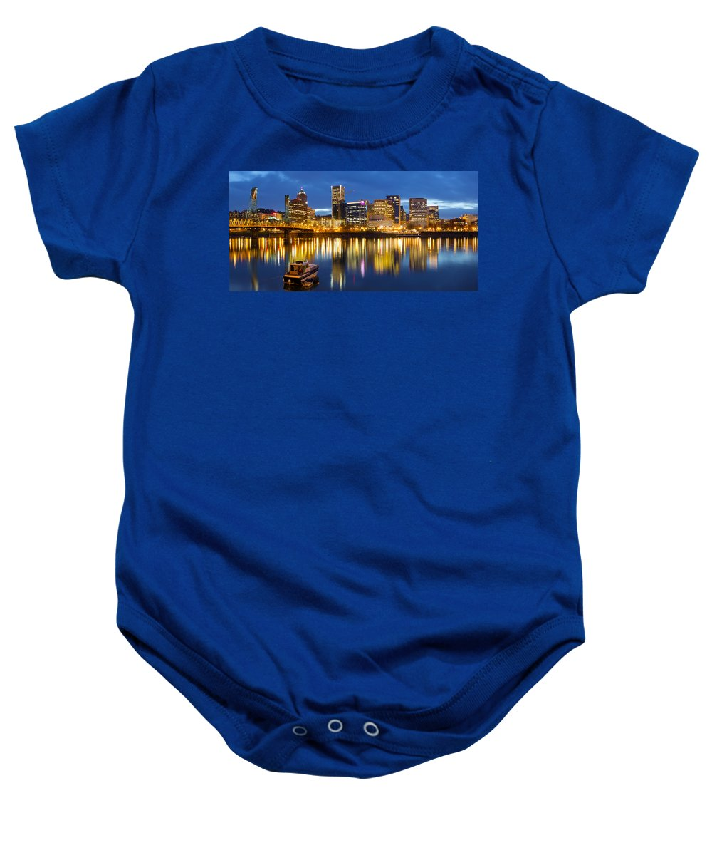 Portland Baby Onesie featuring the photograph Portland Oregon Downtown Waterfront At Blue Hour by Jit Lim