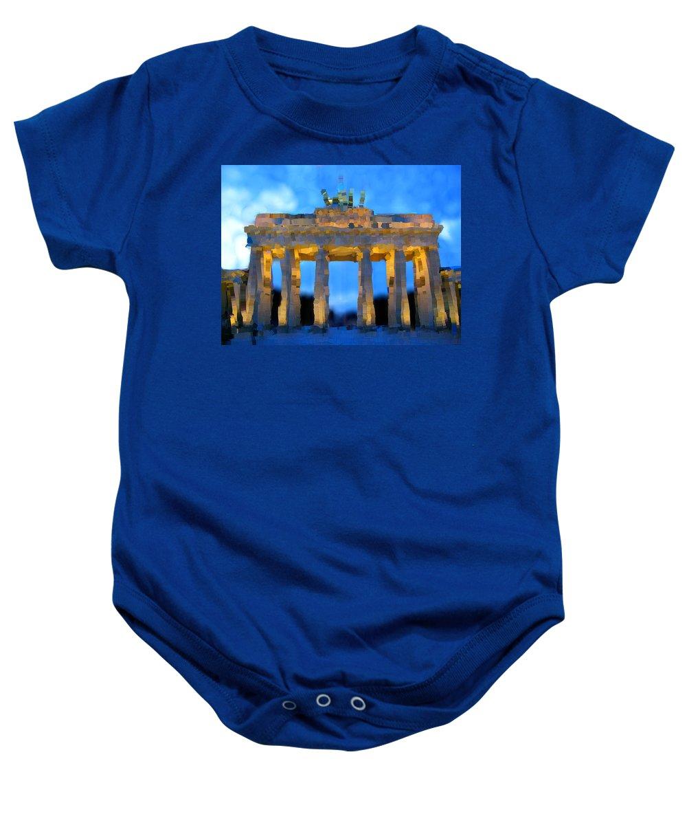 Berlin Baby Onesie featuring the painting Post-it Art Berlin Brandenburg Gate by Bruce Nutting