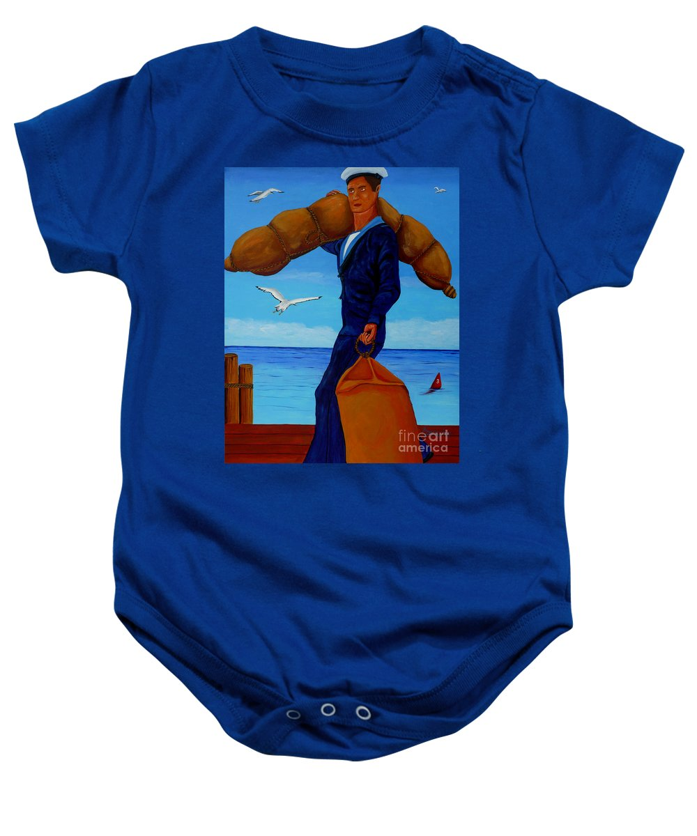 Sailor Baby Onesie featuring the painting Posted To Sea by Anthony Dunphy