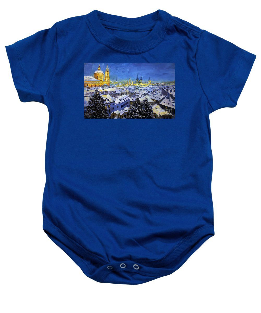 Acrilic Baby Onesie featuring the painting Prague After Snow Fall by Yuriy Shevchuk