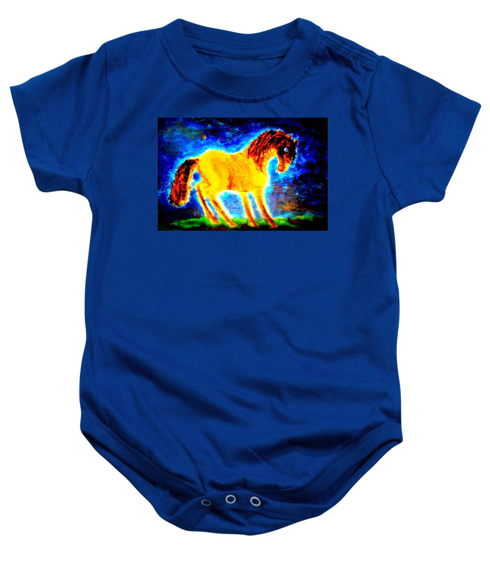 Magical Baby Onesie featuring the painting You Never Promised Me A Rose Garden, But You Left It For Me Anyway by Hilde Widerberg