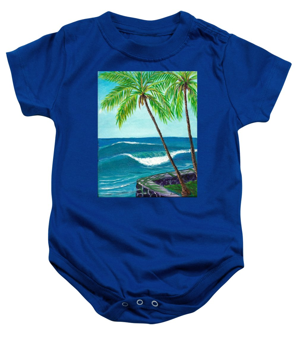 Baby Onesie featuring the painting Puako Sea Wall by Suzanne MacAdam