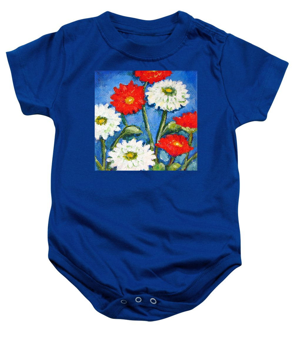 Blue Sky Baby Onesie featuring the painting Red And White Flowers With A Blue Sky by Ashleigh Dyan Bayer