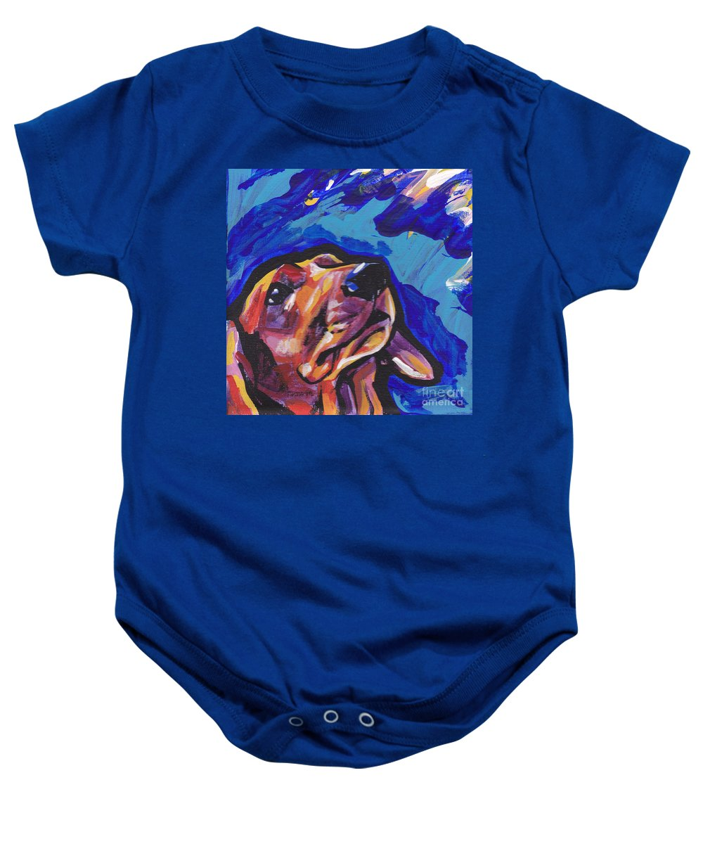 Dachshund Baby Onesie featuring the painting Red Long And Strong by Lea S