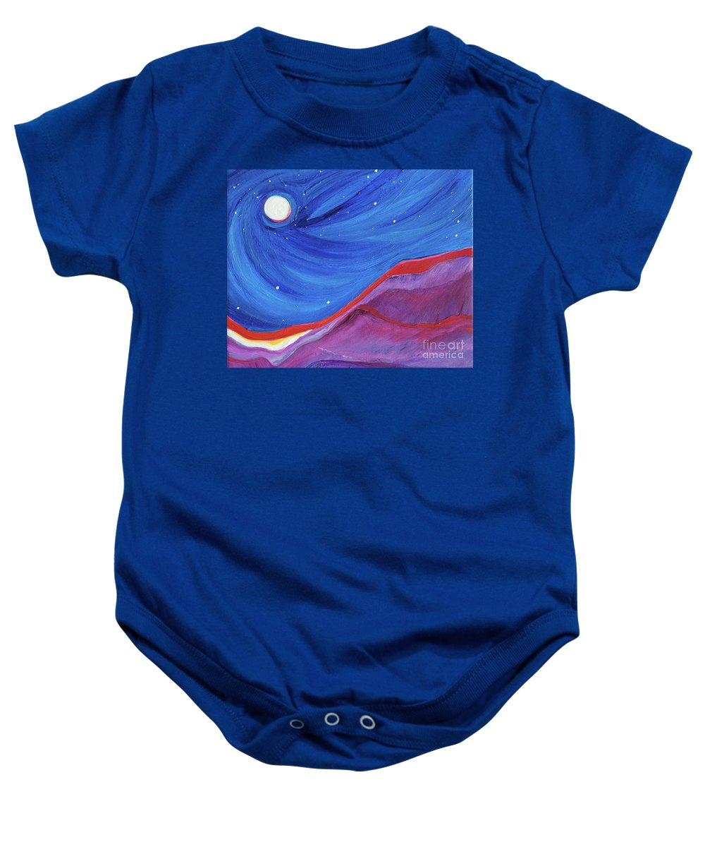Landscape Baby Onesie featuring the painting Red Ridge By Jrr by First Star Art