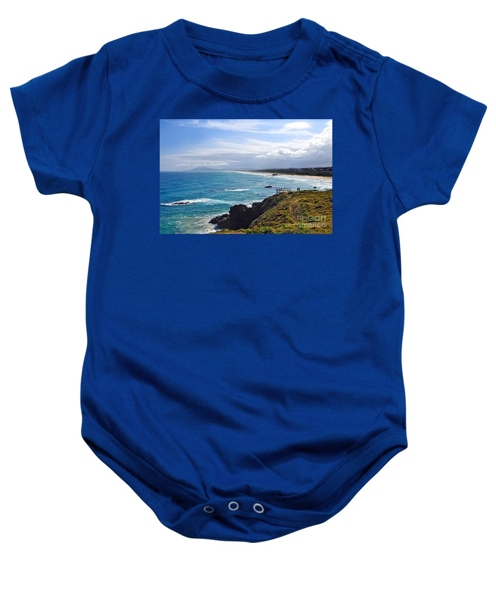 Photography Baby Onesie featuring the photograph Rocks Ocean Surf And Sun by Kaye Menner