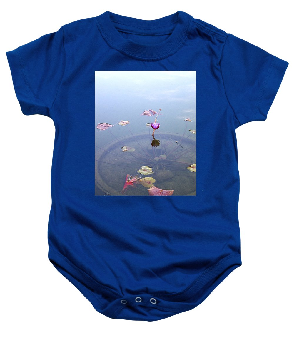 Waterlily Baby Onesie featuring the photograph Romantic Pond by Ben and Raisa Gertsberg
