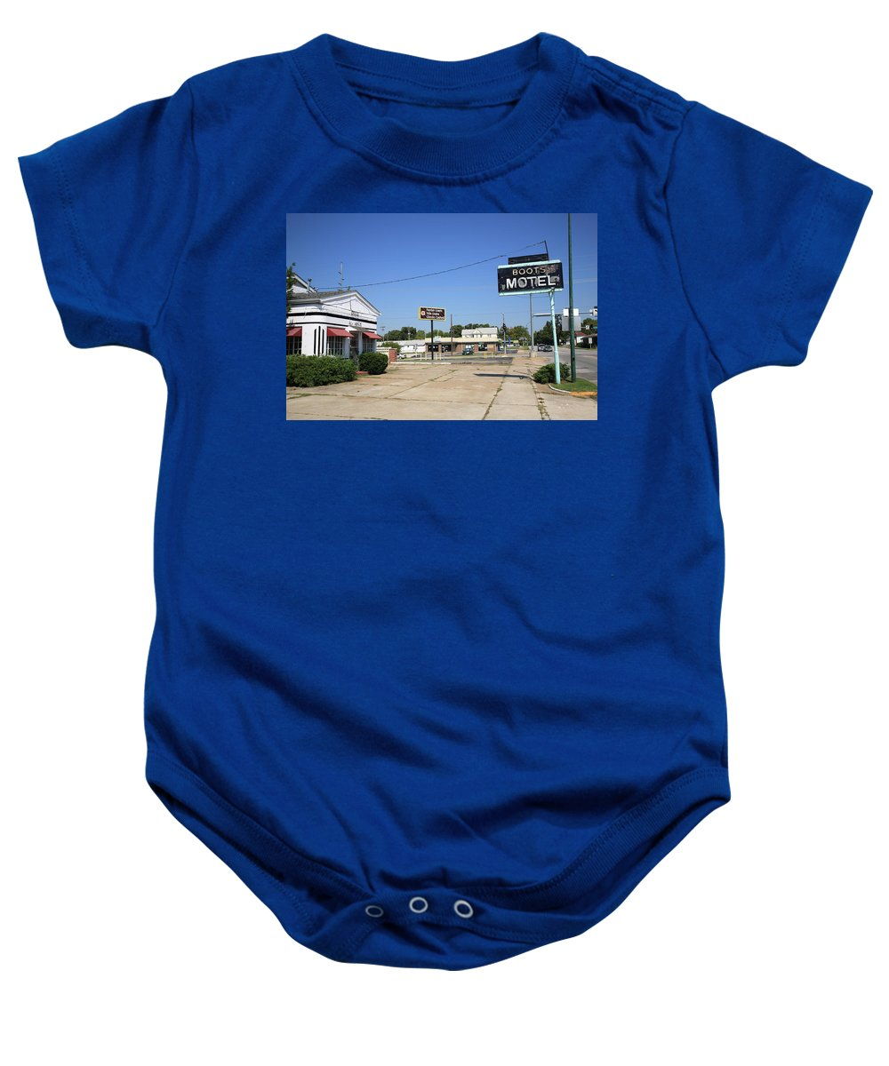 66 Baby Onesie featuring the photograph Route 66 - Boots Motel by Frank Romeo