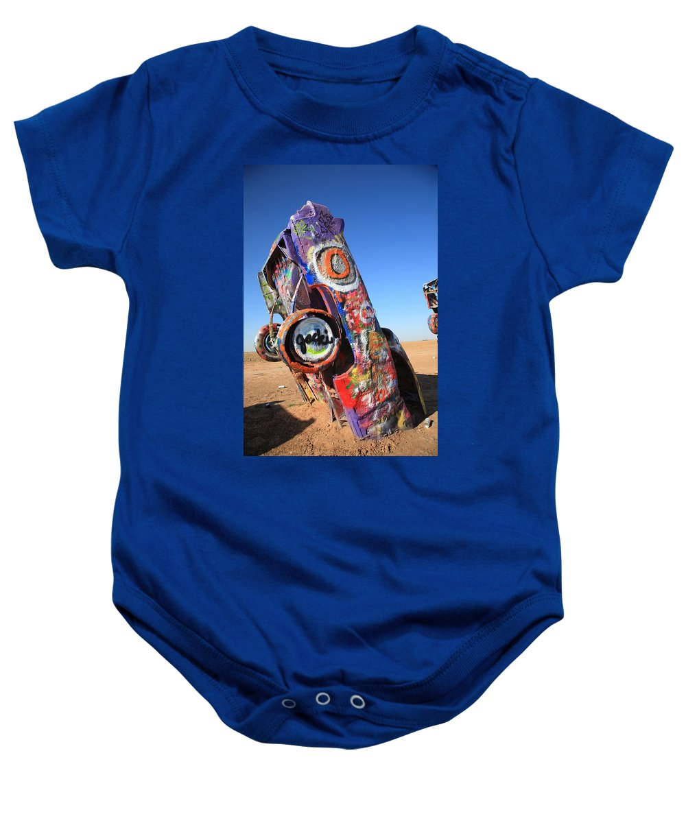 66 Baby Onesie featuring the photograph Route 66 Cadillac Ranch by Frank Romeo