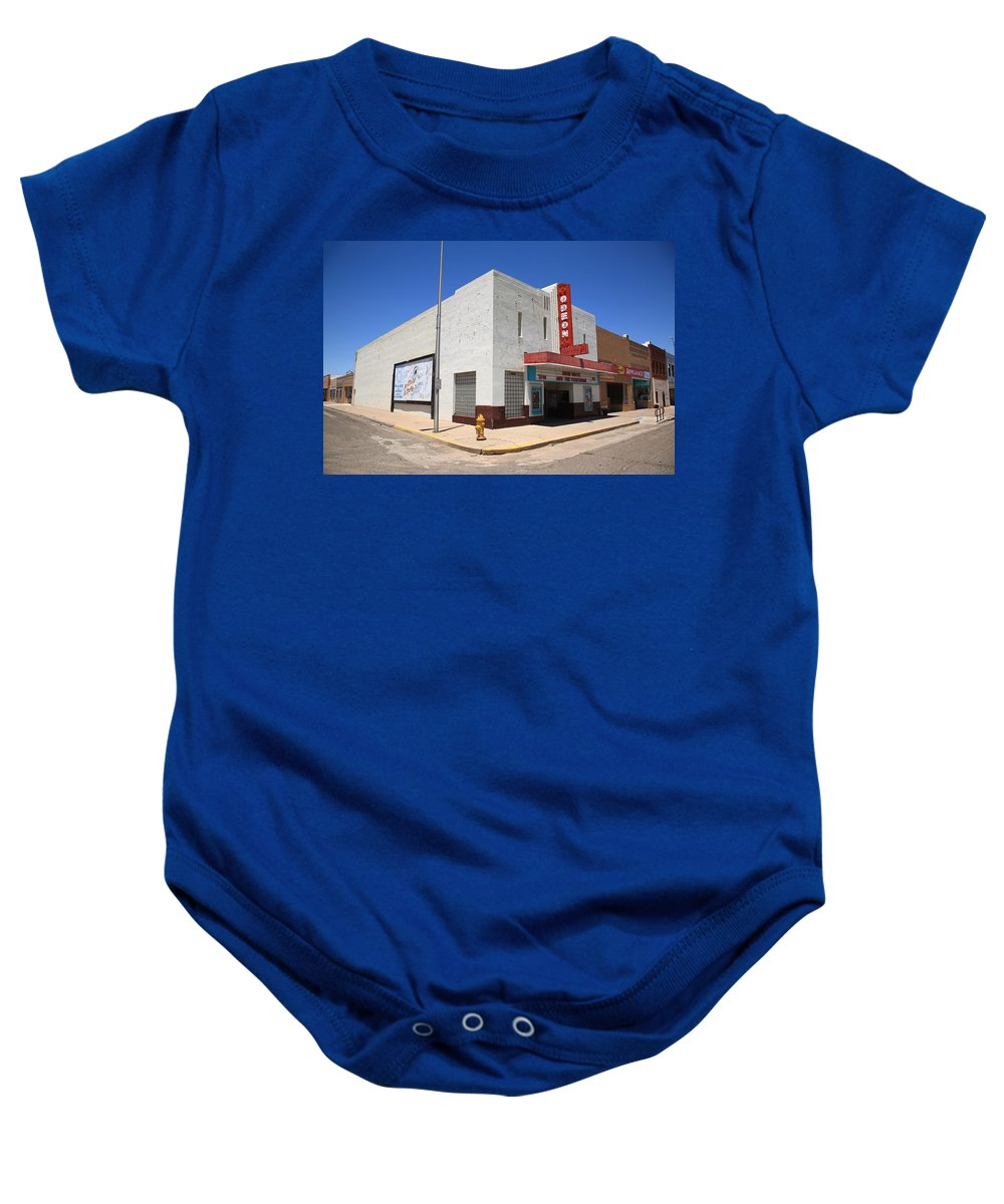 66 Baby Onesie featuring the photograph Route 66 - Odeon Theater by Frank Romeo