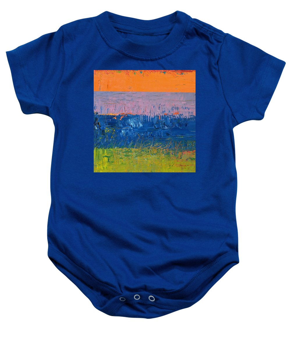 Stripes Baby Onesie featuring the painting Rustic Roadside Series 2 - Thistle Field by Michelle Calkins