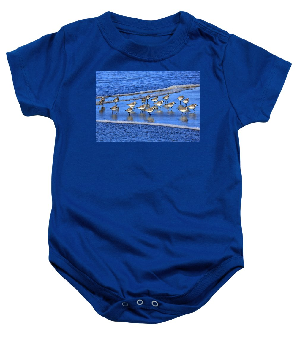 Beach Baby Onesie featuring the photograph Sandpiper Symmetry by Robert Bynum