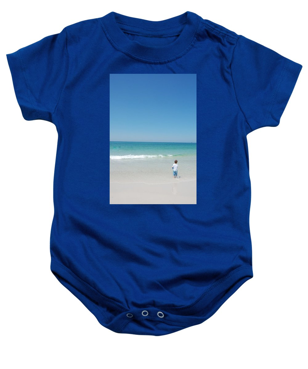 Water Baby Onesie featuring the photograph Sandy Playground by May Photography