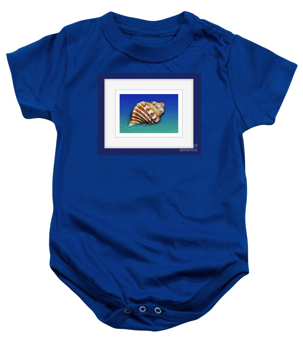 Photography Baby Onesie featuring the photograph Seashell Wall Art 1 - Blue Frame by Kaye Menner