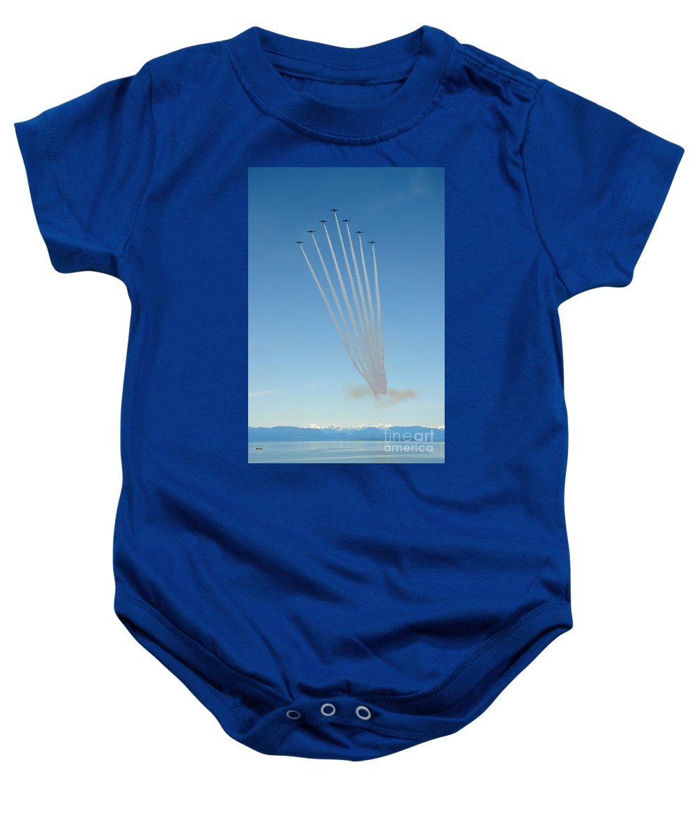 Snowbirds Baby Onesie featuring the photograph Seven Plane Kilt Formation by Vivian Christopher