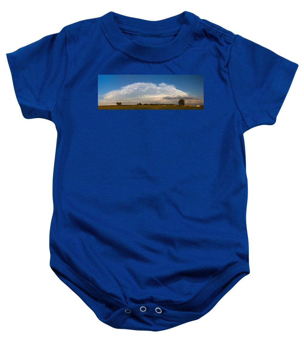 Shelf Clouds Baby Onesie featuring the photograph Shelf Cloud Mamacumulus Leading Edge by James BO Insogna