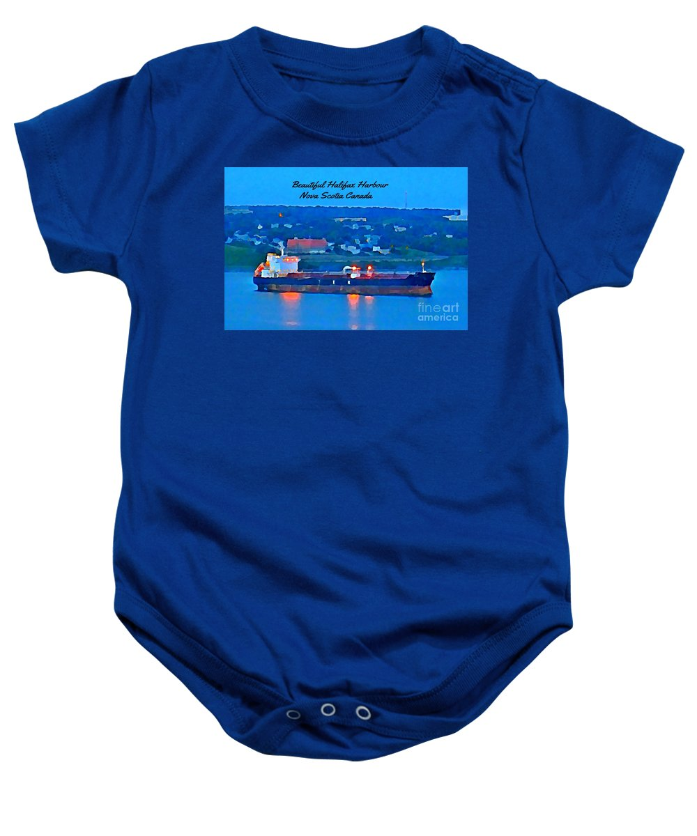 Ship In Beautiful Halifax Harbour Baby Onesie featuring the painting Ship In Beautiful Halifax Harbour by John Malone