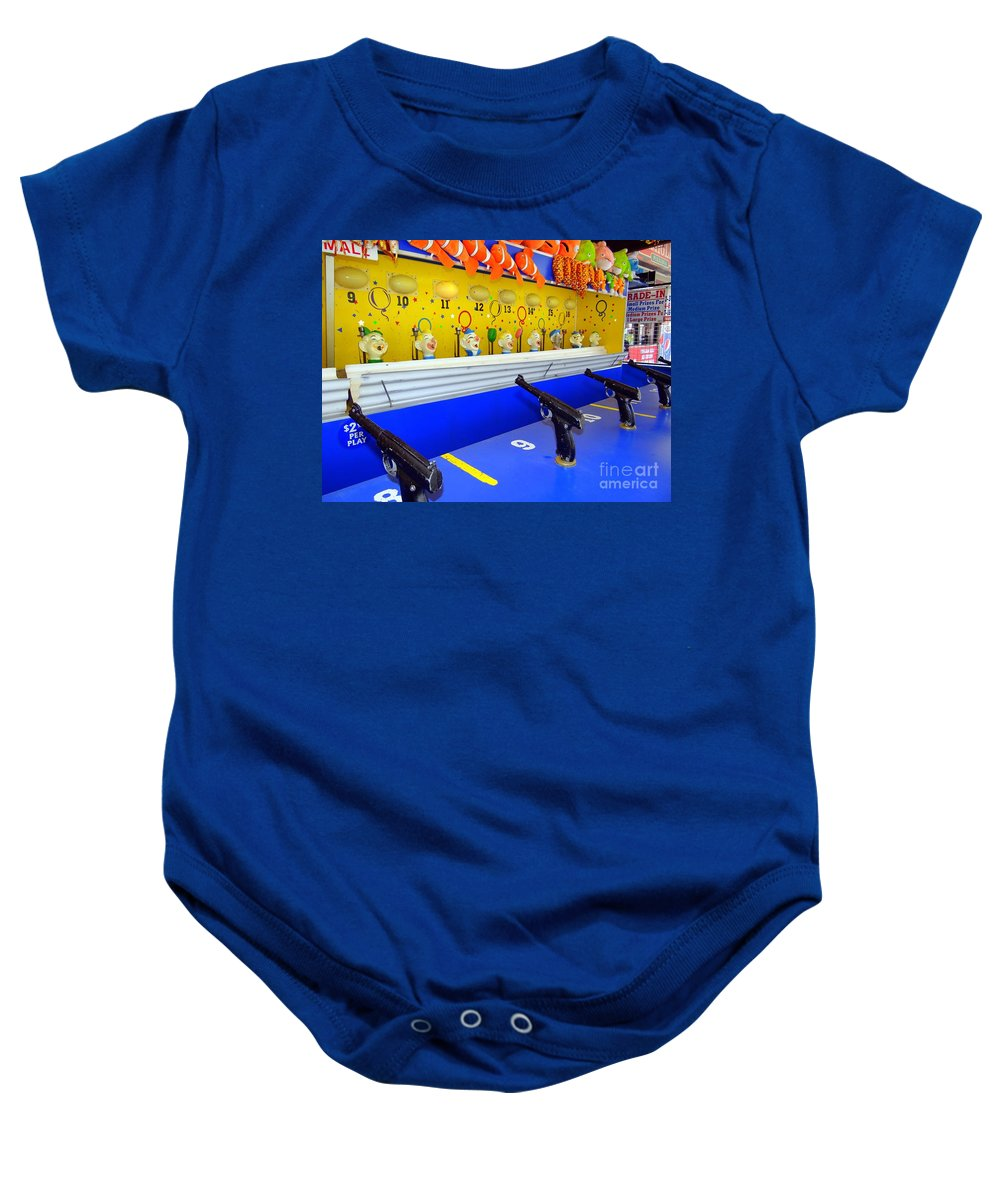 Coney Island Baby Onesie featuring the photograph Shoot The Clown by Ed Weidman