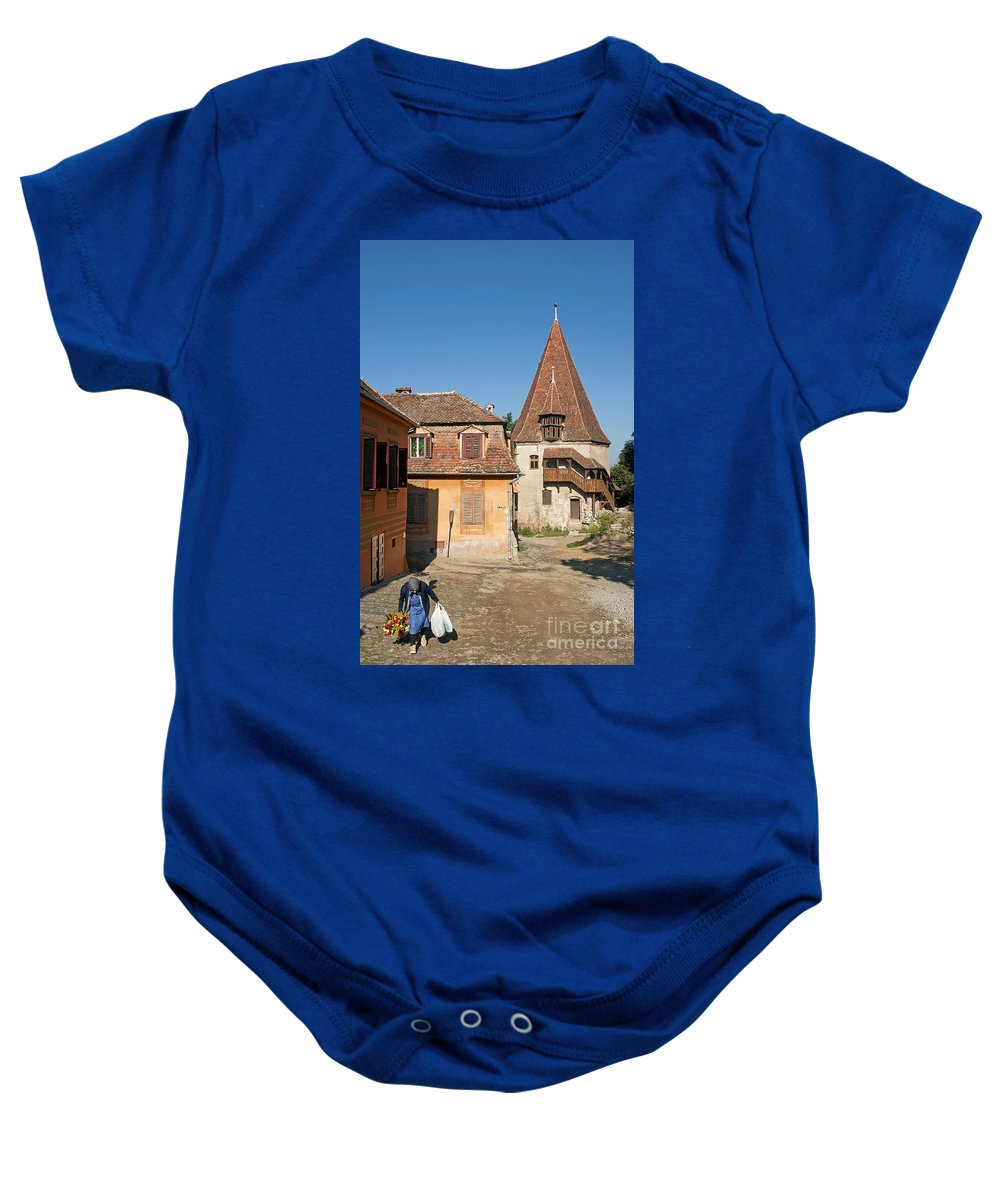Travel Baby Onesie featuring the photograph Sighisoara Transylvania Medieval Historic Town In Romania Europe by Jacek Malipan