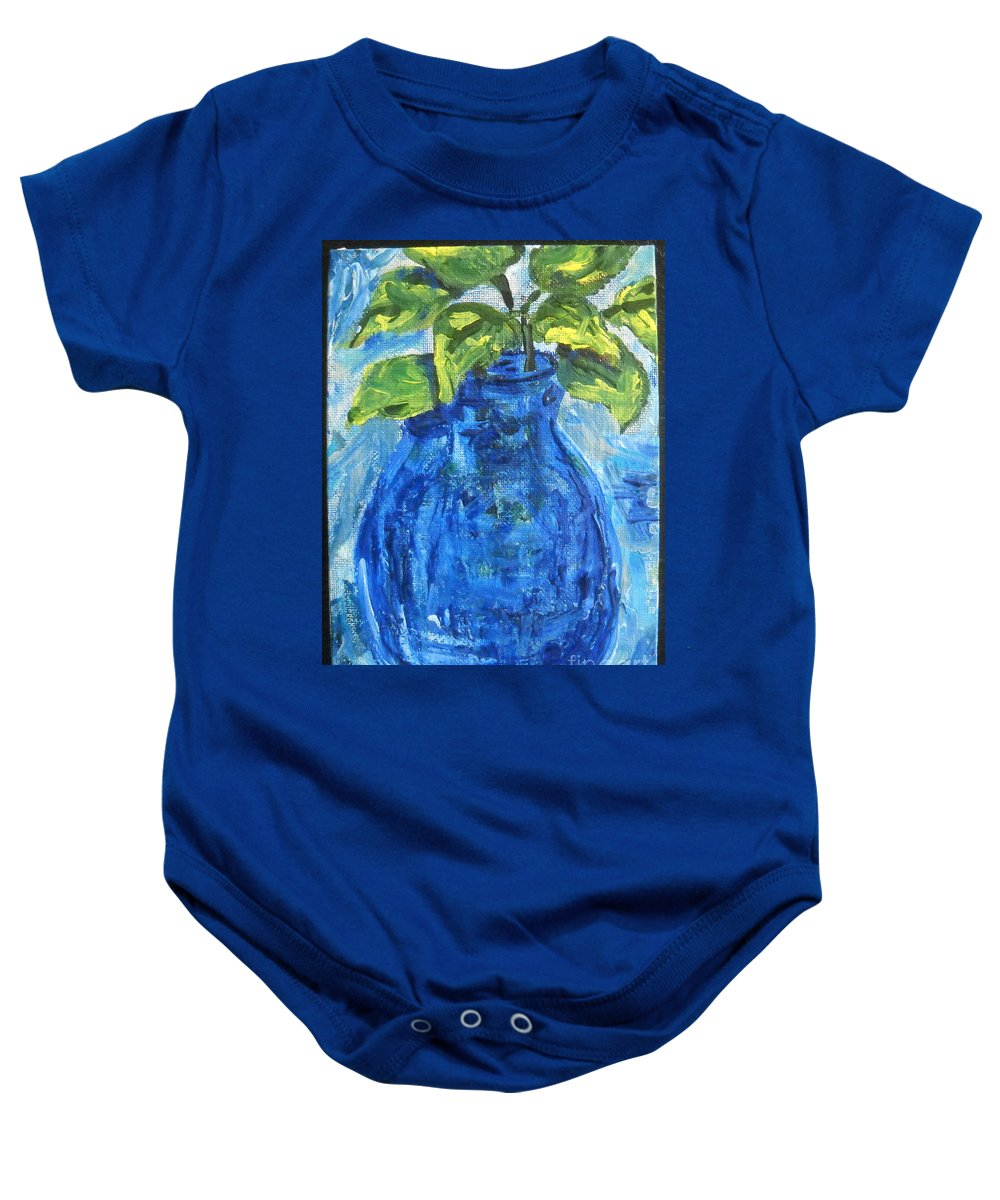 Botanical Baby Onesie featuring the painting Simple Greens by Reina Resto
