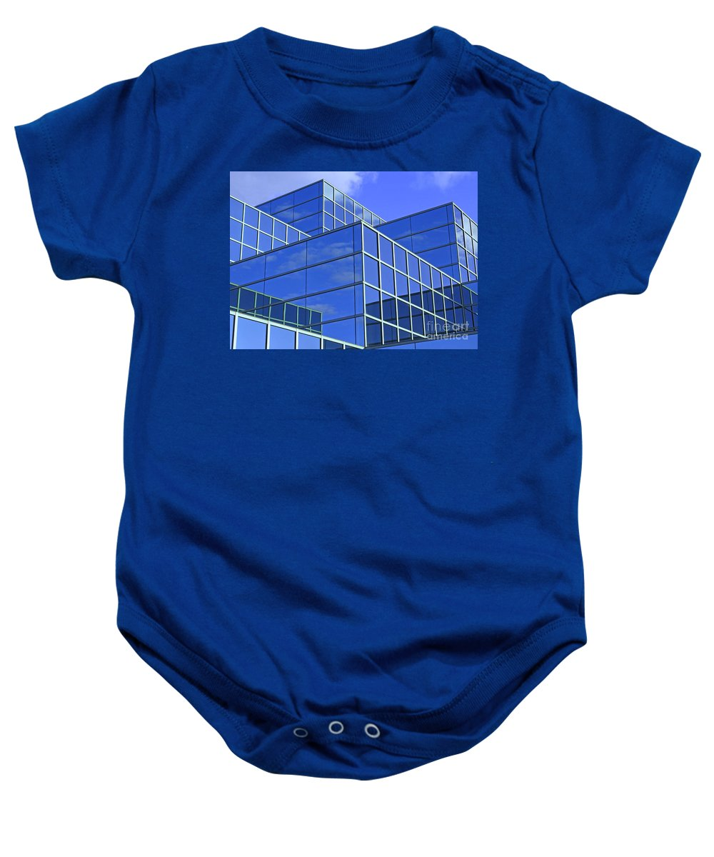 Glass Baby Onesie featuring the photograph Sky Blue Mirror by Ann Horn
