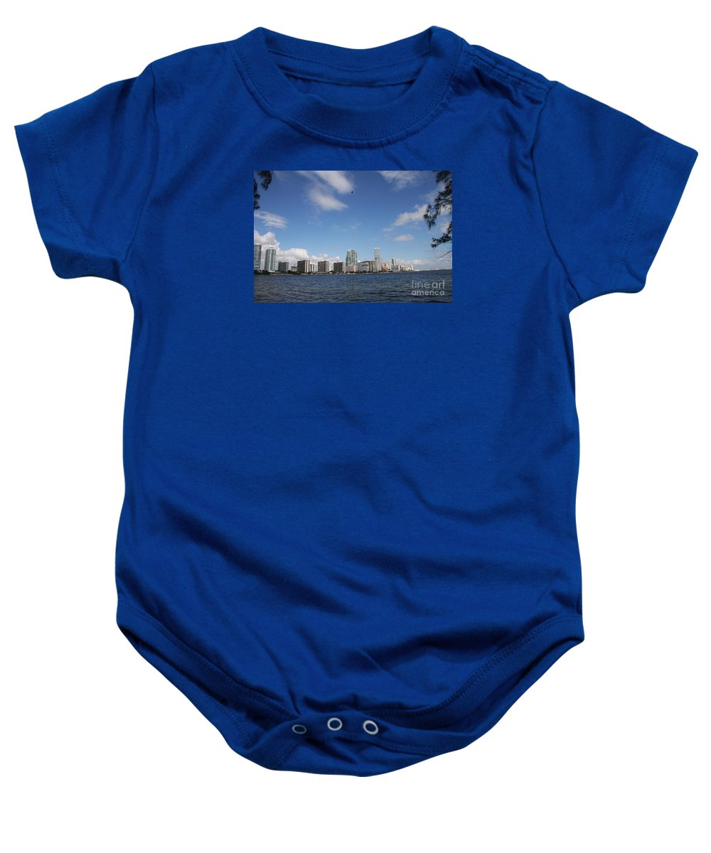 Miami Baby Onesie featuring the photograph Skyline Miami by Christiane Schulze Art And Photography