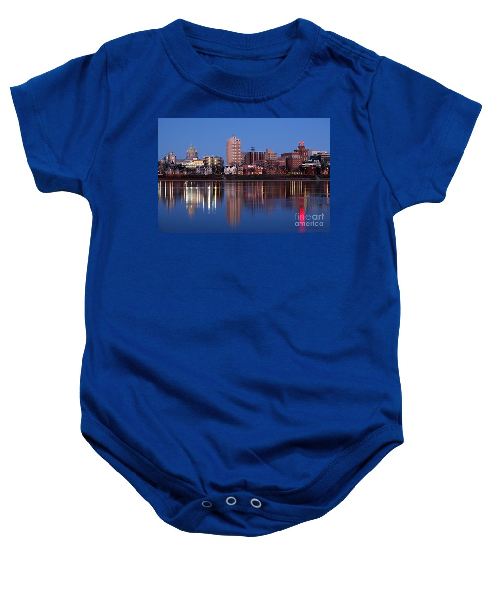 Harrisburg Baby Onesie featuring the photograph Skyline Of Harrisburg Pennsylvania by Bill Cobb