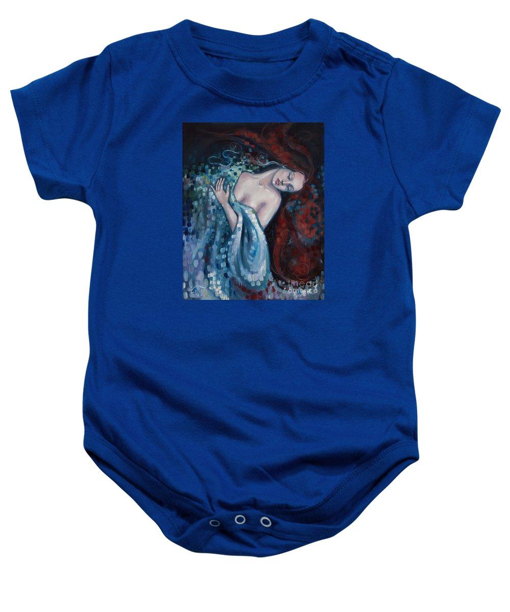 Gustav Klimt Baby Onesie featuring the painting Sleeping Beauty by Kim Marshall