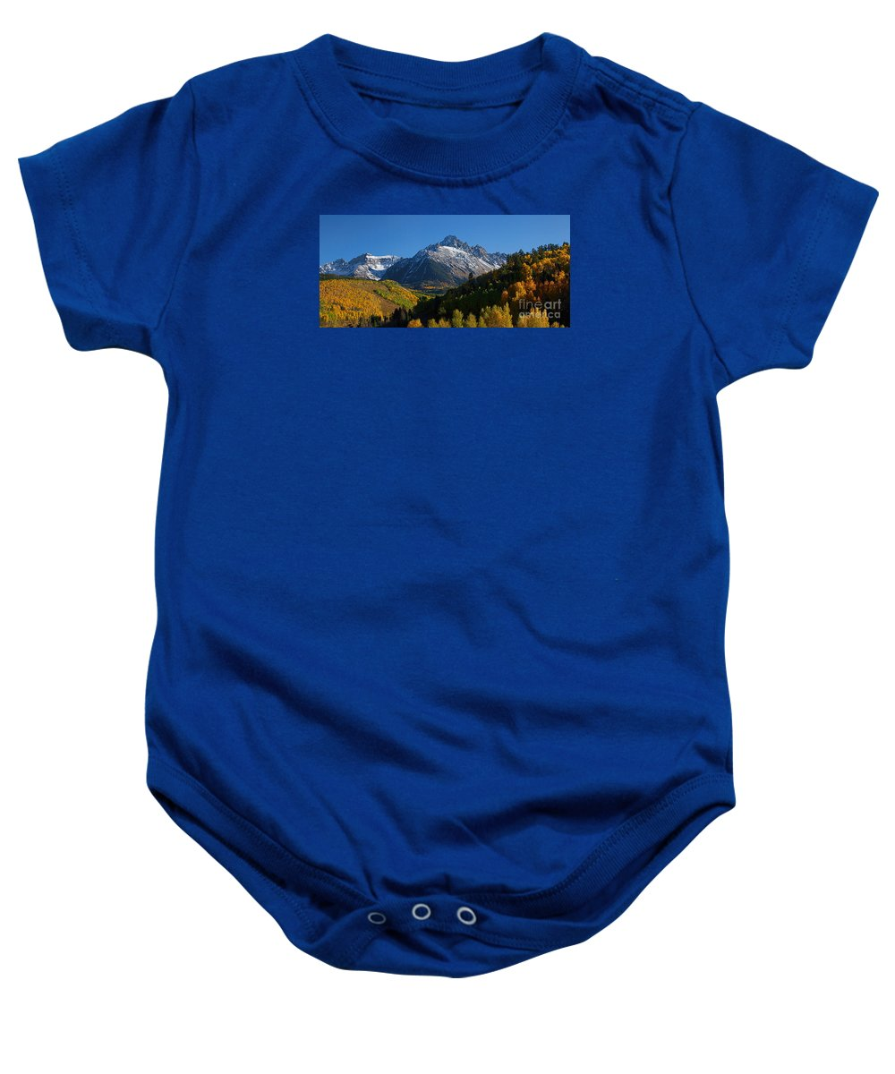 Autumn Colors Baby Onesie featuring the photograph Sneffels Panorama by Jim Garrison