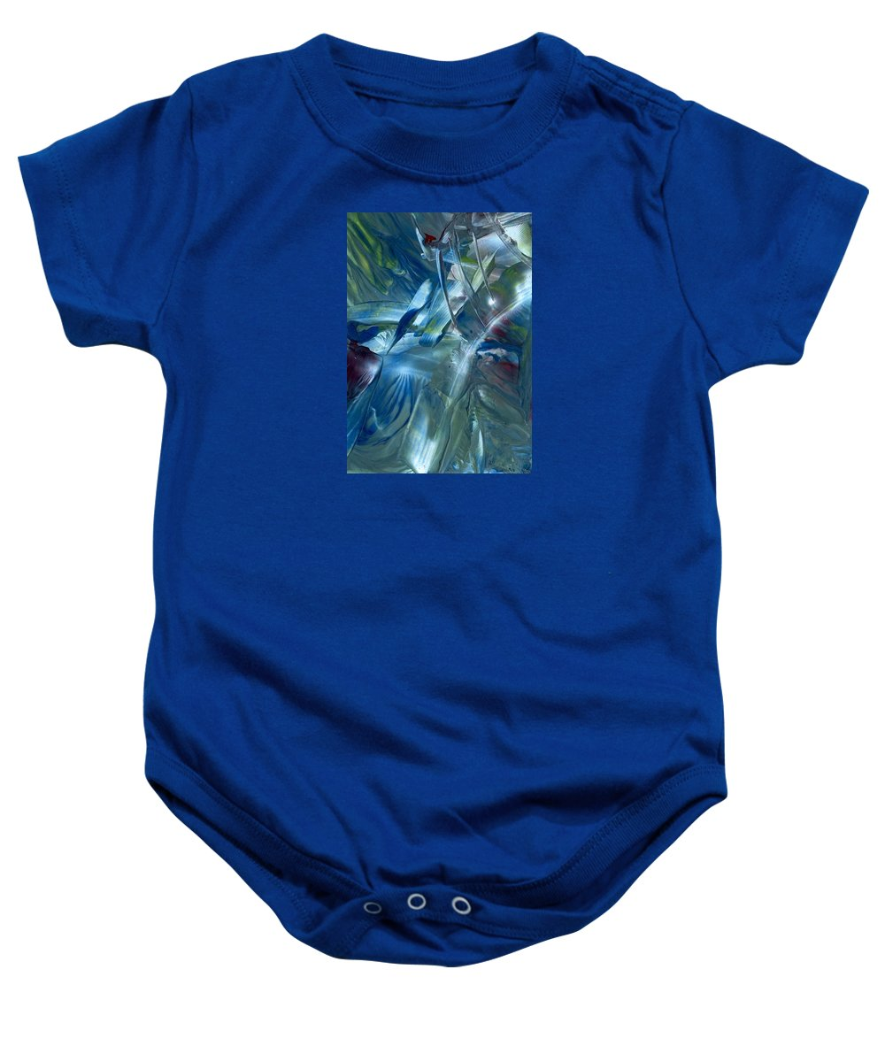 Abstract Baby Onesie featuring the painting Space Is The Place by Cristina Handrabur