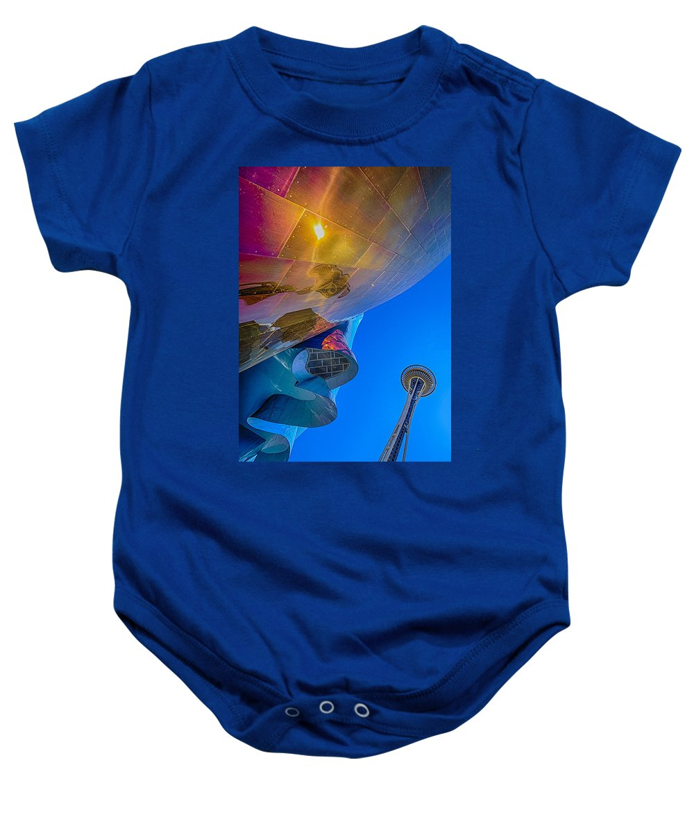 Space Needle Baby Onesie featuring the photograph Space Needle And Emp In Perspective Hdr by Scott Campbell