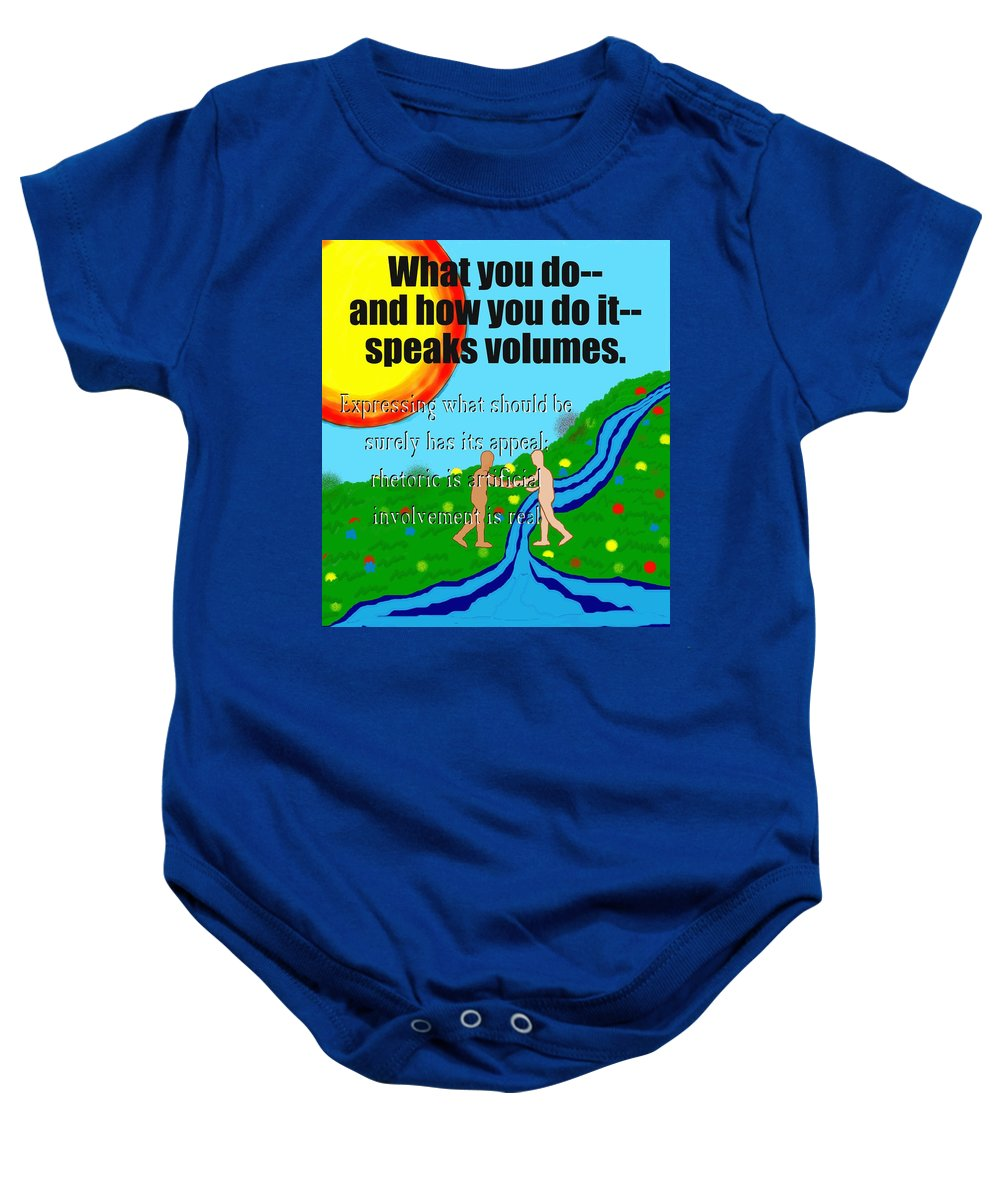 Action Baby Onesie featuring the painting Speaks Volumes by Pharris Art