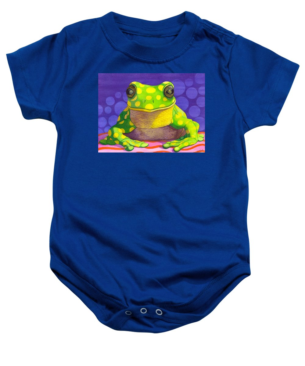 Frog Baby Onesie featuring the painting Spotted Frog by Catherine G McElroy