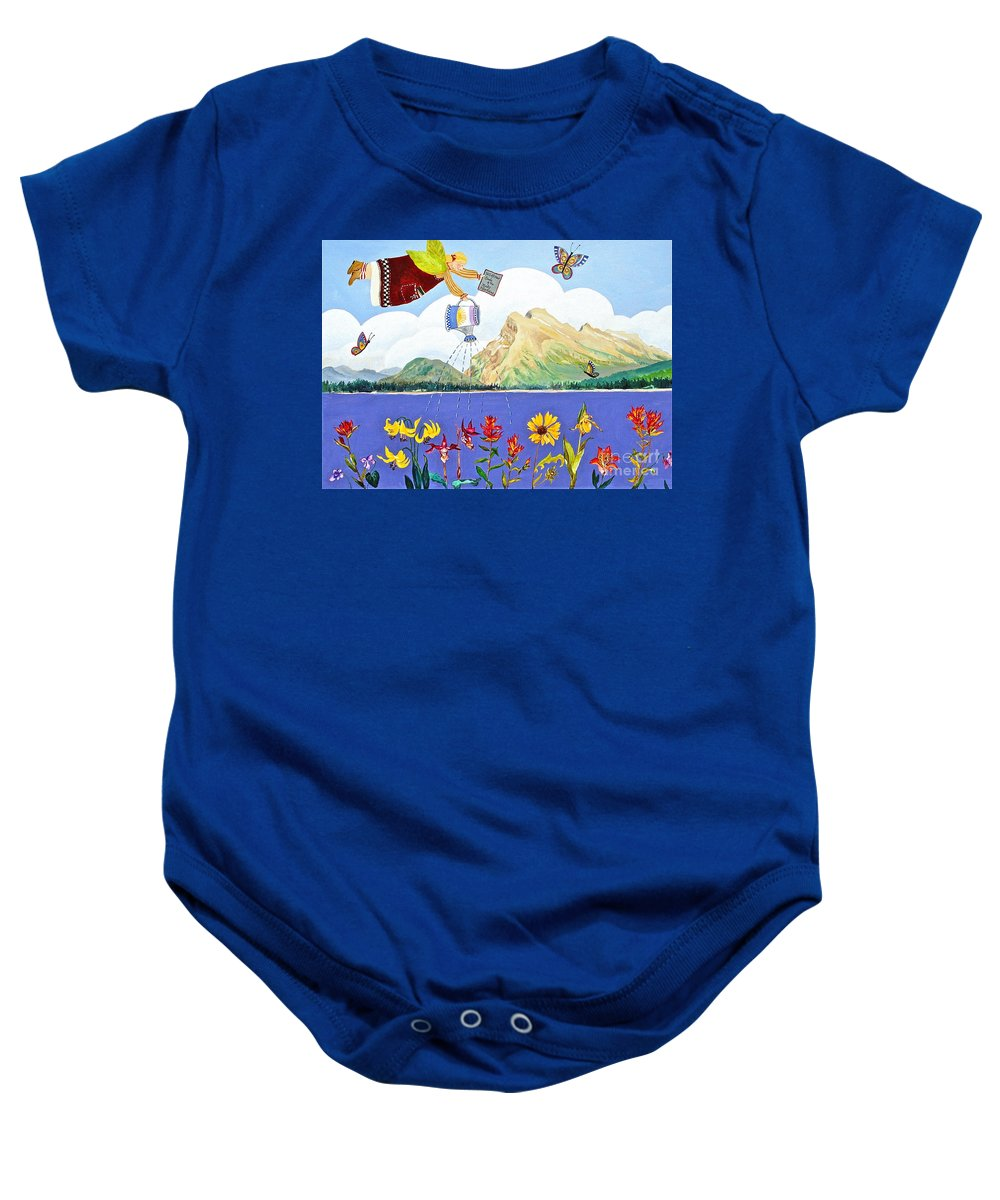 Mt Rundle Paintings Baby Onesie featuring the painting Springtime In The Rockies by Virginia Ann Hemingson