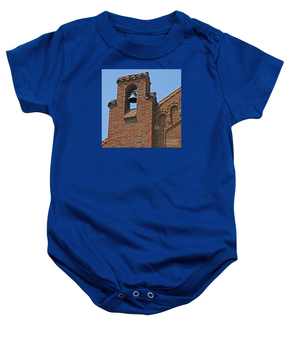 Detroit Baby Onesie featuring the photograph St Patrick Parish Bell Tower by Ann Horn