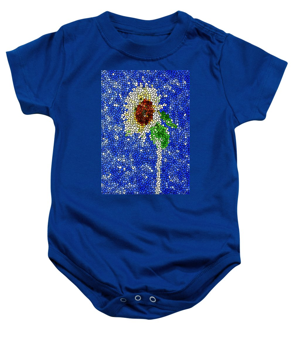 Stained Glass Sunflower Over The Blue Sky Baby Onesie featuring the painting Stained Glass Sunflower Over The Blue Sky by Jeelan Clark