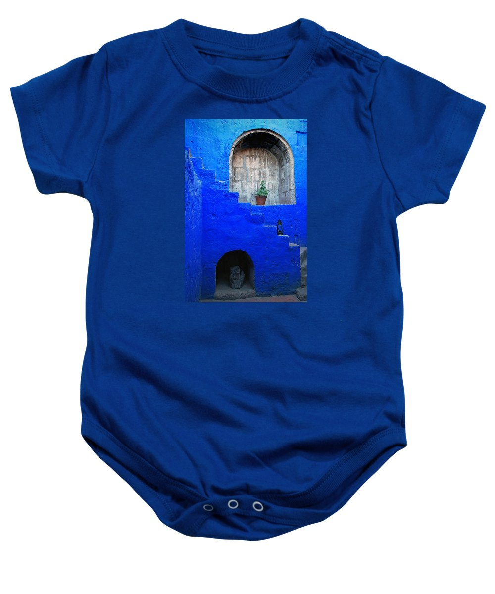 Monastery Baby Onesie featuring the photograph Staircase In Blue Courtyard by RicardMN Photography