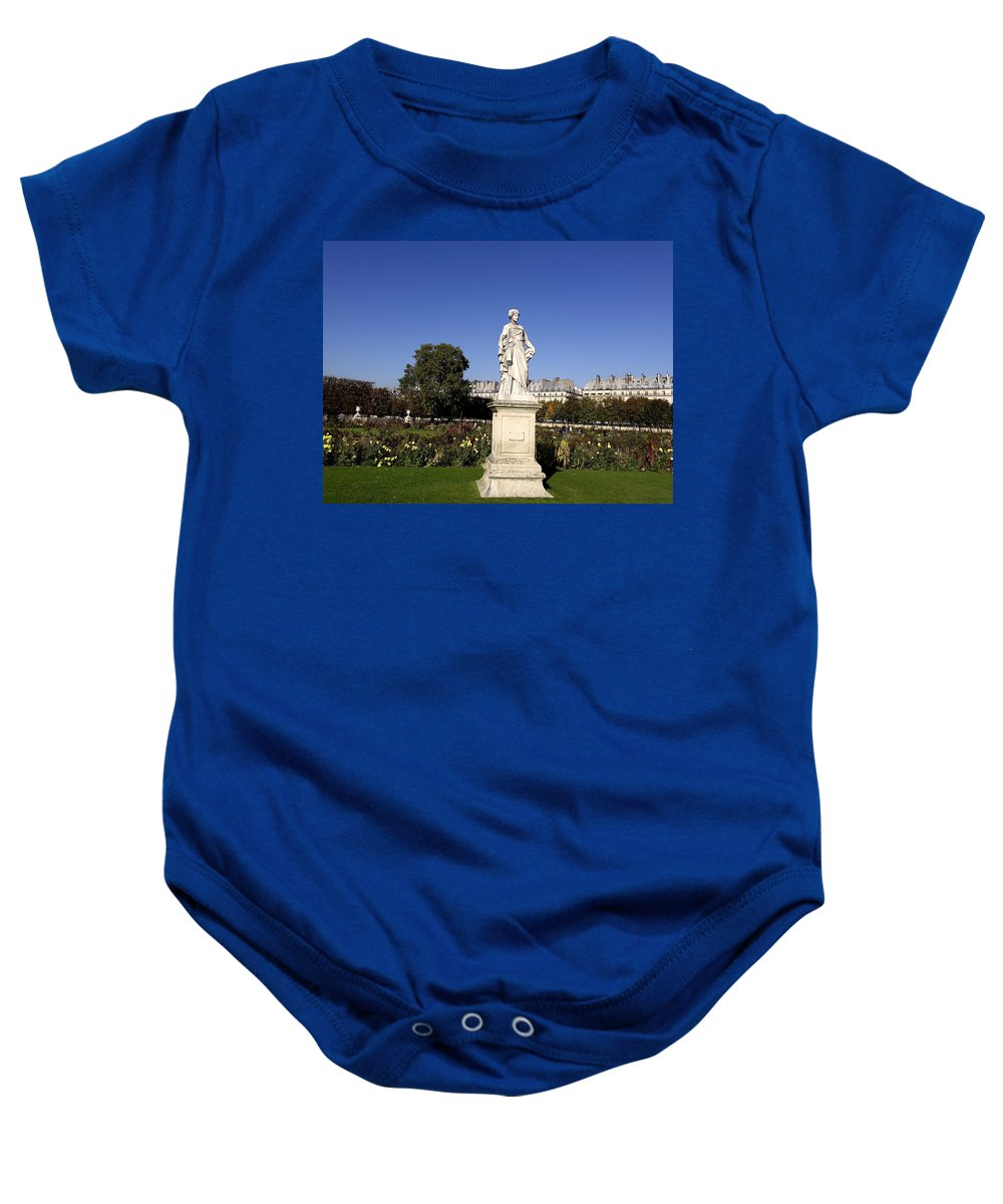 Paris Baby Onesie featuring the photograph Statue At The Jardin Des Tuileries In Paris France by Richard Rosenshein