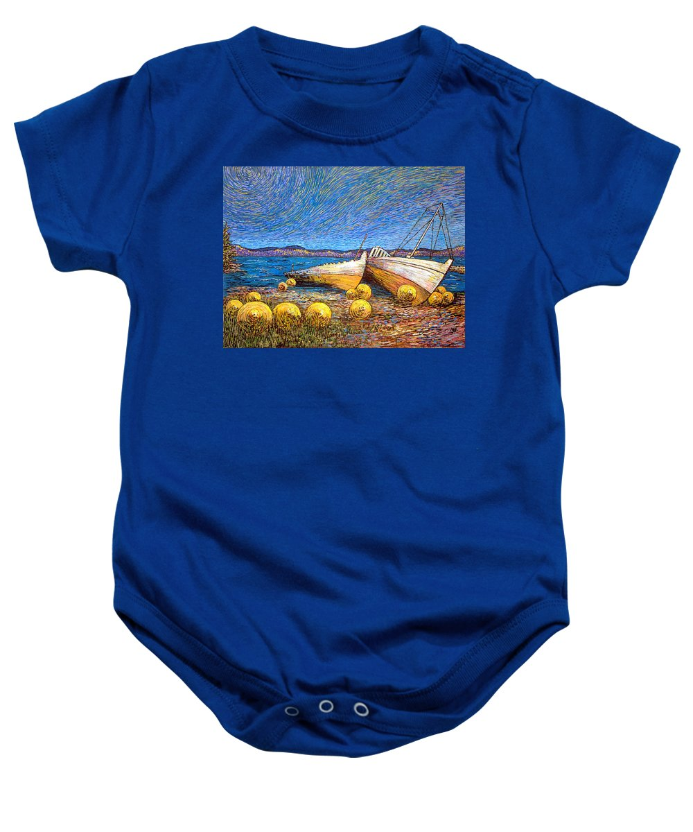 Stranded Baby Onesie featuring the painting Stranded - Bar Road by Michael Graham