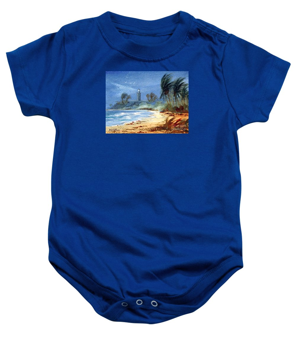 Puerto Rico Baby Onesie featuring the painting Sudden Storm Faro De Punta Tuna by Bill Holkham