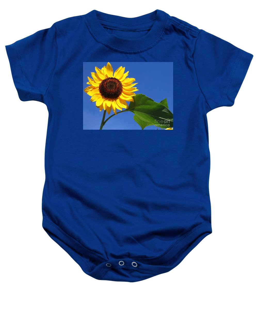 Sunflower Baby Onesie featuring the photograph Sunflower Alone by Line Gagne