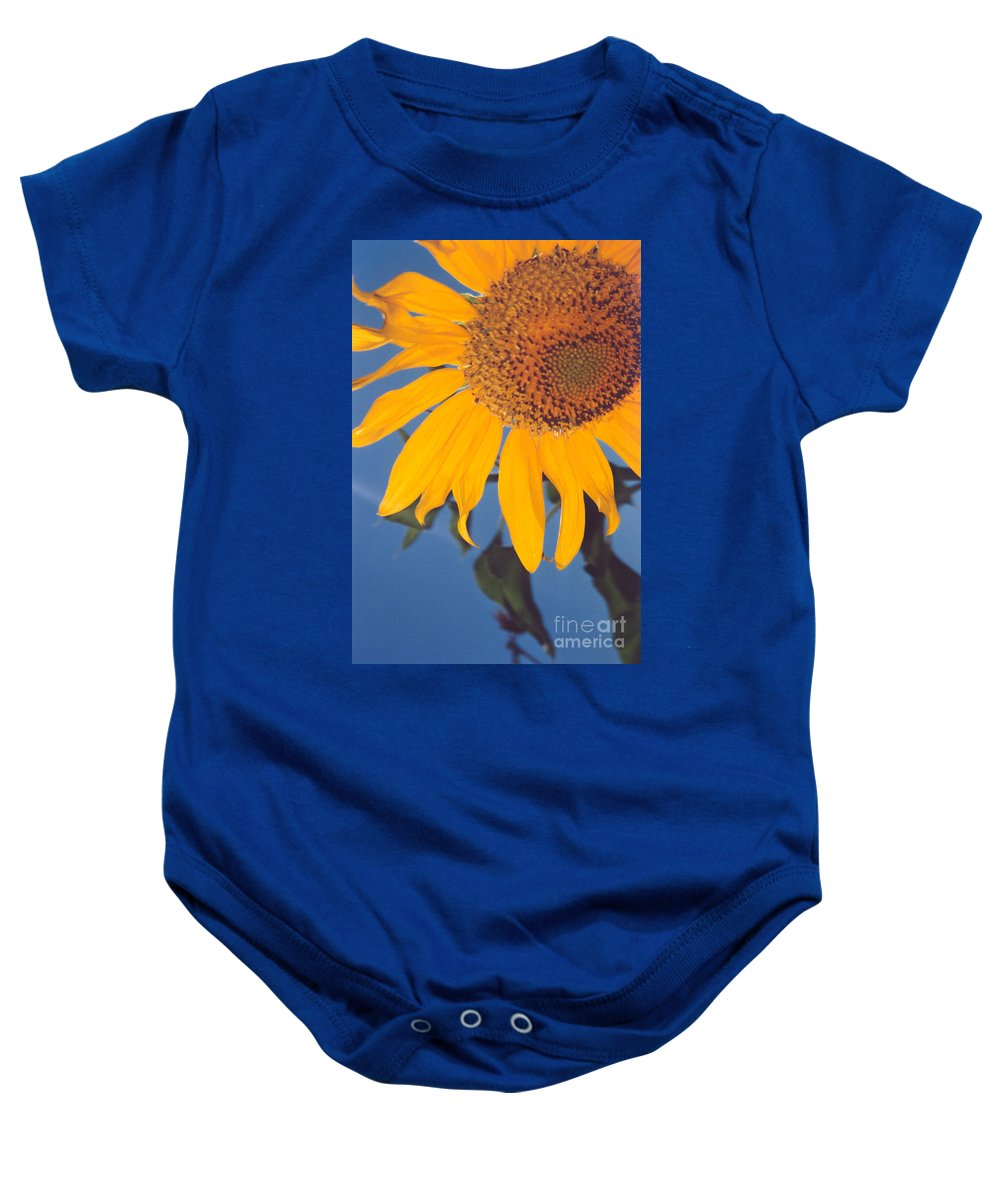 Flower Baby Onesie featuring the photograph Sunflower In The Corner by Heather Kirk